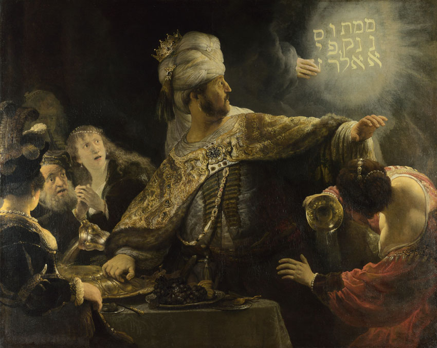 Kong Belsasar vanæret de hellige karene som var stjålet fra templet i Jerusalem. Men han hadde ikke regnet med Guds hånd! (Maleri: Rembrandt, 1635)